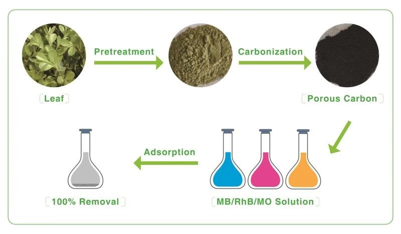 Adsorption Removal of Pollutant Dyes in Wastewater by Nitrogen-doped Porous Carbons Derived from Natural Leaves