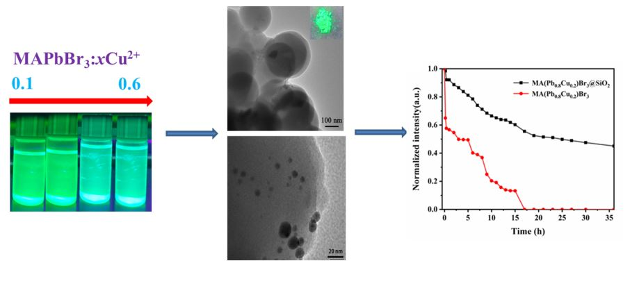 Study on MA(Pb,Cu)Br3 Provskite Nanocrystal with Both Controlled Color Emission and Improved Stability