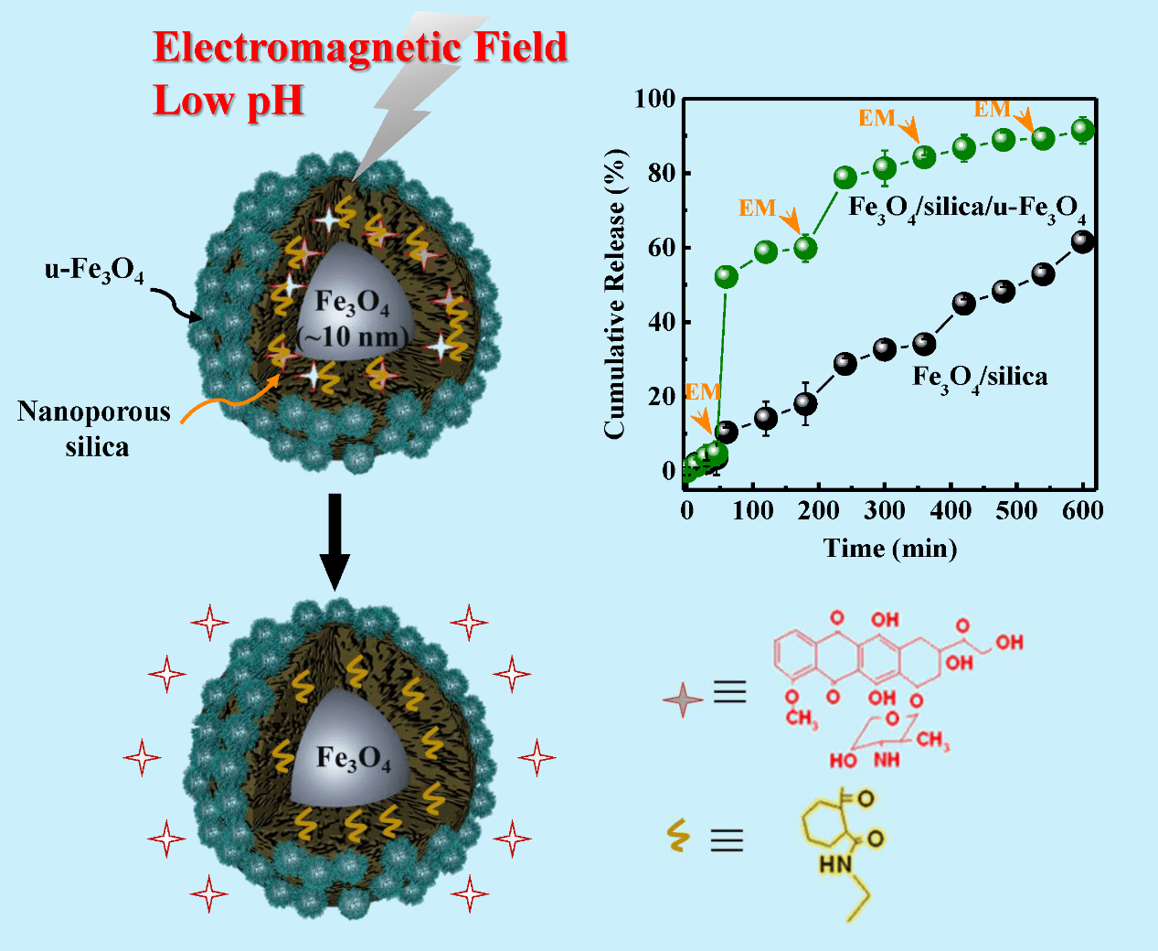 pH and Electromagnetic Dual-Remoted Drug Delivery Based on Bimodal Superparamagnetic Fe3O4@Porous Silica Nanoparticles