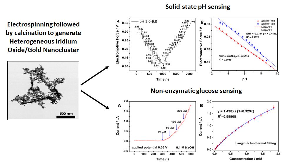 Heterogeneous Iridium Oxide/Gold Nanocluster for Non-enzymatic Glucose Sensing and pH Probing