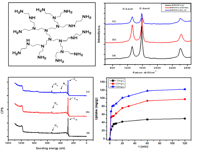 High Adsorption Performance of Methyl Blue from Aqueous Solution using Hyper-branched Polyethyleneimine Grafted MWCNTs as an Adsorbent